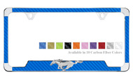 3D Ford Pony Emblem On Carbon Fiber Vinyl Insert License Plate Frame