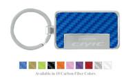 Honda Logo Civic Carbon Fiber Vinyl Inlay Rectangle Key Chain