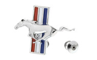 Ford Zinc Chrome Lapel Pin 3D Mustang Horse with Stripe