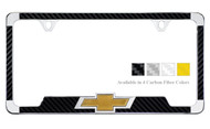Chrome Plated License Frame with Simulated Carbon Fiber Inlays and 3D Chevy Bowtie
