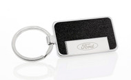 Ford Logo Rectangle Key Chain with Black Vinyl Inlays with a Satin Finish