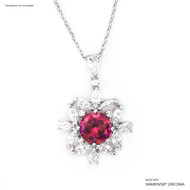 Red Bloom Pendant Made with Swarovski Zirconia