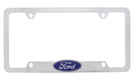 Ford Chrome Plated Brass License Plate Frame With Attached 3D Emblem On Bottom Bar