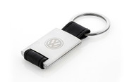 Volkswagen Black Leather Rectangle Key Chain With Satin Finish