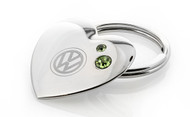 Volkswagen Heart Shaped Key Chain Embellished With Green Swarovski® Crystals