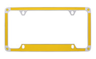 Yellow Carbon Fiber Vinyl Inlay License Plate Frame Embellished With Swarovski® Crystals