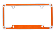 Orange Carbon Fiber Vinyl Inlay License Plate Frame Embellished With Swarovski® Crystals