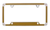 Gold Carbon Fiber Vinyl Inlay License Plate Frame Embellished With Swarovski® Crystals