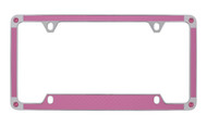 Pink Carbon Fiber Vinyl Inlay License Plate Frame Embellished With Swarovski® Crystals