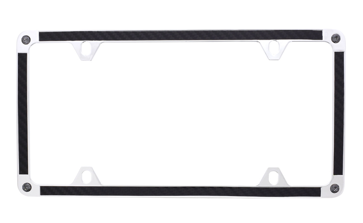 Black Carbon Fiber Vinyl Inlay Thin Rim License Plate Frame ...
