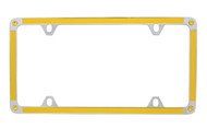Yellow Carbon Fiber Vinyl Inlay Thin Rim License Plate Frame Embellished With Swarovski® Crystals