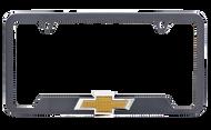Chevrolet Hydrographic Carbon Fiber Frame With 3D Chevrolet Logo Emblem