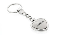 Satin/Chrome Two Tone Heart Shape Keychain with Laser Engraved Chrysler Imprint