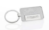 Satin Metallic Silver Textured Vinyl Inlay Keychain with Laser Engraved Chrysler Imprint