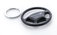Plain Black Steering Wheel Keychain with Laser Engraved Dodge Imprint