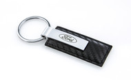 Stamped Simulated Carbon Fiber Leather Key Chain with Laser Engraved Ford Imprint (FOKRLW-CF)