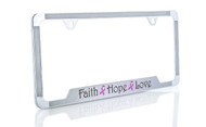 Beautifully Designed Pink Ribbon 'Faith, Hope & Love' Printed on Sparkling Silver License Frame