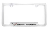Chevrolet Corvette C7 metal license frame. Quality craftsmanship and best on the market. Durable for harsh weather. Standard US frame size. Official licensed product.