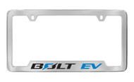 Chevrolet BOLT EV logo metal license frame. Quality craftsmanship and best on the market. Durable for harsh weather. Standard US frame size. Official licensed product.