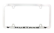 Ford Mustang with 2 Logos Thin Rim Chrome Plated Metal License Plate Frame Holder