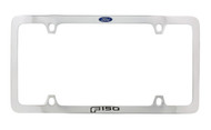 Ford F150 Blue Logo Thin Rim Chrome Plated Metal License Plate Frame Holder