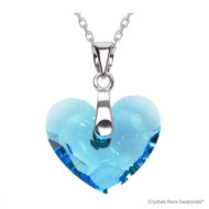 Aquamarine Truly In Love Heart Necklace Embellished with Swarovski Crystals (NE2R-202)