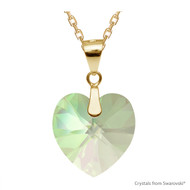 Crystal Luminous Green F Xilion Heart Necklace Embellished with Swarovski Crystals (NE3G-001LUMG)