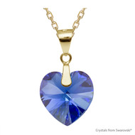 Sapphire AB Xilion Heart Necklace Embellished with Swarovski Crystals (NE3G-206AB)