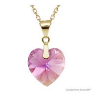 Rose AB Xilion Heart Necklace Embellished with Swarovski Crystals (NE3G-209AB)