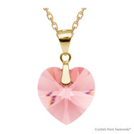 Rose Peach Xilion Heart Necklace Embellished with Swarovski Crystals (NE3G-262)