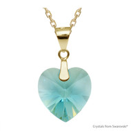 Light Turquoise Xilion Heart Necklace Embellished with Swarovski Crystals (NE3G-263)