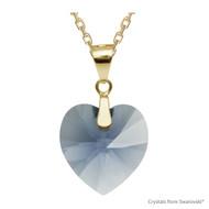 Denim Blue Xilion Heart Necklace Embellished with Swarovski Crystals (NE3G-266)