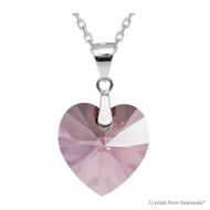 Antique Pink Xilion Heart Necklace Embellished with Swarovski Crystals (NE3R-001ANTP)