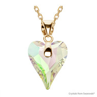 Crystal Luminous Green F Wild Heart Necklace Embellished with Swarovski Crystals (NE4G-001LUMG)