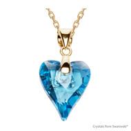 Aquamarine Wild Heart Necklace Embellished with Swarovski Crystals (NE4G-202)