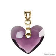 Amethyst Truly In Love Heart Pendant Embellished with Swarovski Crystals (PE2G-204)