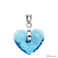 Aquamarine Truly In Love Heart Pendant Embellished with Swarovski Crystals (PE2R-202)