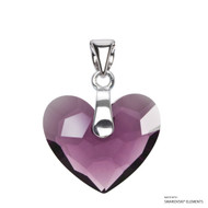 Amethyst Truly In Love Heart Pendant Embellished with Swarovski Crystals (PE2R-204)