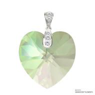 Crystal Luminous Green F Xilion Heart Pendant Embellished with Swarovski Crystals (PE3R-001LUMG-28)