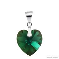Emerald Xilion Heart Pendant Embellished with Swarovski Crystals (PE3R-205AB)