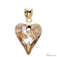 Crystal Golden Shadow Wild Heart Pendant Embellished with Swarovski Crystals (PE4G-001GSHA)