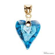 Aquamarine Wild Heart Pendant Embellished with Swarovski Crystals (PE4G-202)