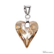 Crystal Golden Shadow Wild Heart Pendant Embellished with Swarovski Crystals (PE4R-001GSHA)