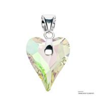 Crystal Luminous Green F Wild Heart Pendant Embellished with Swarovski Crystals (PE4R-001LUMG)