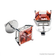 Rose Peach Xlion Square Stud Earrings Embellished with Swarovski Crystals