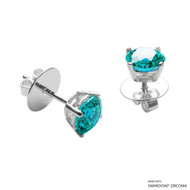 1 Carat Mint Round Stud Earring Made with Swarovski Zirconia