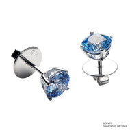 1 Carat Fancy Blue Solitaire Earring Made with Swarovski Zirconia