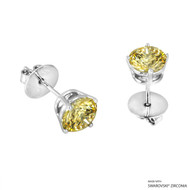 2 Carat Fancy Yellow Round Stud Earring Made with Swarovski Zirconia