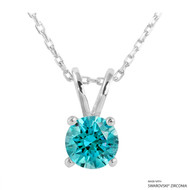 1 Carat Mint Round Necklace Made with Swarovski Zirconia