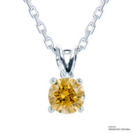 1 Carat Amber Solitaire Necklace Made with Swarovski Zirconia